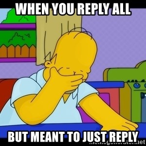 Homer Facepalm - When you reply all but meant to just reply