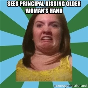 Disgusted Ginger - sees principal kissing older woman's hand