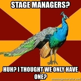 Thespian Peacock - Stage managers? huh? i thought we only have one?