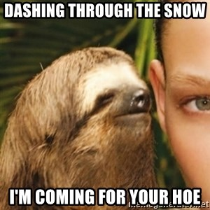 Whispering sloth - Dashing through the snow  i'm coming for your hoe