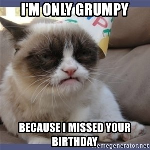 Birthday Grumpy Cat - I'm only grumpy because I missed your birthday