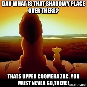 simba mufasa - Dad what is thaT shadowY place over there? Thats upper coomera Zac. You must never go there!