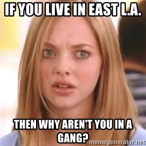 OMG KAREN - if you live in East L.A. then why aren't you in a gang?
