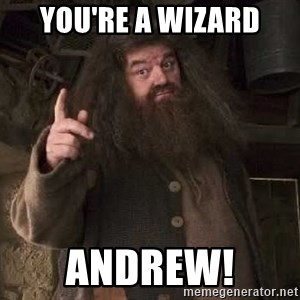 Hagrid - you're a wizard andrew!