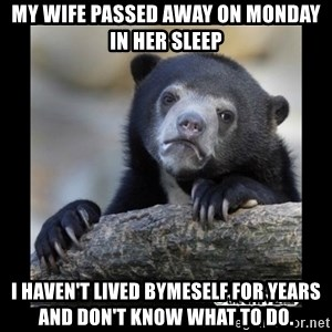 sad bear - My wife passed away on monday in her sleep I haven't lived bymeself for years and don't know what to do.