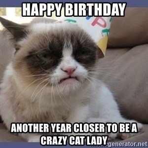 Birthday Grumpy Cat - Happy Birthday Another Year closer to Be a crazy cat lady