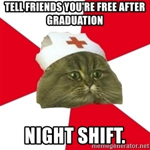 Nursing Student Cat - Tell Friends You're FREE After Graduation  Night Shift.