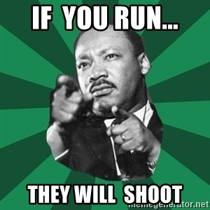 Martin Luther King jr.  - IF  YOU RUN... THEY WILL  SHOOT