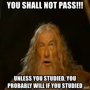 Gandalf You Shall Not Pass - You shall not pass!!! Unless you studied, you probably will if you studied