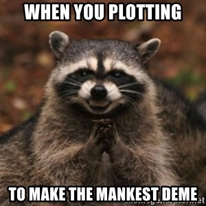 evil raccoon - WHEN YOU PLOTTING to make the mankest deme