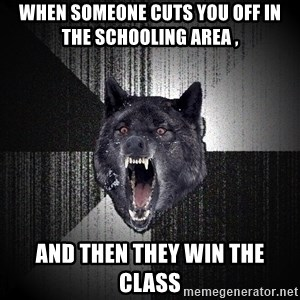 Insanity Wolf - When someone cuts you off in the schooling area , and then they win the class