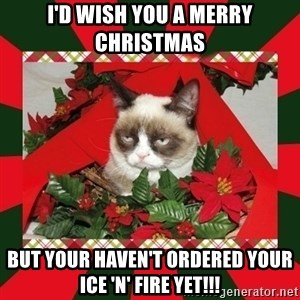 GRUMPY CAT ON CHRISTMAS - I'd wish you a merry christmas But your haven't ordered your ice 'n' fire yet!!!