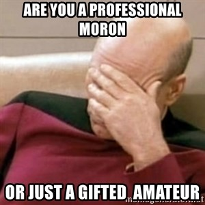 Face Palm - Are you a professional moron Or just a GIFTED  amAteur