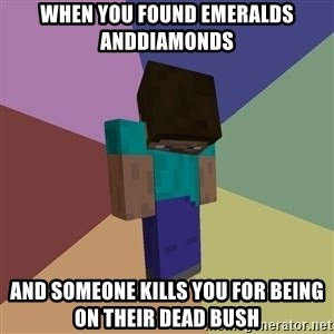 Depressed Minecraft Guy - when you found emeralds anddiamonds and someone kills you for being on their dead bush