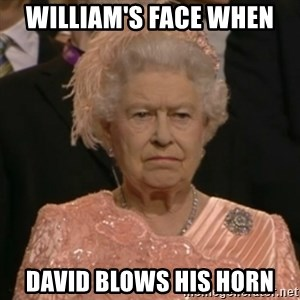 One is not amused - William's face when David blows his horn