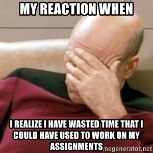 Face Palm - my reaction when i realize i have wasted time that i could have used to work on my assignments