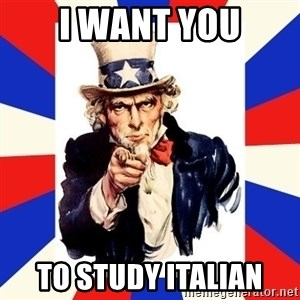 uncle sam i want you - i want you to study italian