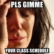 Crying lady - pls gimme your class schedule