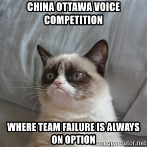 Grumpy cat good - China Ottawa voice competition  where team failure is always on option