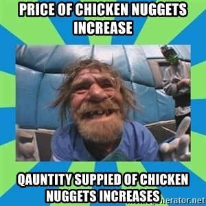 hurting henry - price of chicken nuggets increase qauntity suppied of chicken nuggets increases