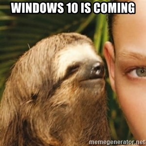 Whispering sloth - Windows 10 is coming