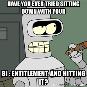 Bender - Have you ever tried sitting down with your  BI : Entitlement, and hitting it?