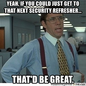 Yeah If You Could Just - Yeah, if you could just get to that next security refresher... that'd be great.