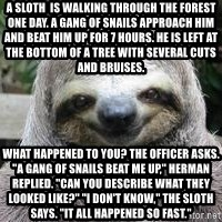 "Sexual Sloth - A sloth  is walking through the forest one day. A gang of snails approach him and beat him up for 7 hours. He is left at the bottom of a tree with several cuts and bruises.  What happened to you? the officer asks. ""A gang of snails beat me up,"" Herman replied. ""Can you describe what they looked like?"" ""I don't know,"" the sloth says. ""It all happened so fast."""