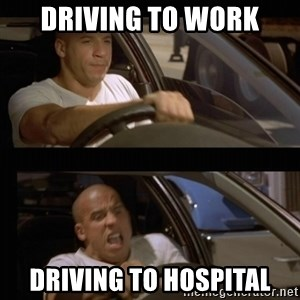 Vin Diesel Car - driving to work driving to hospital
