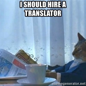Sophisticated Cat - I should hire a translator
