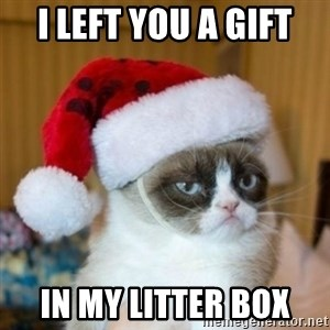 Grumpy Cat Santa Hat - I left you a gift In my litter box