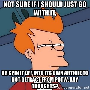 Futurama Fry - not sure if I should just go with it, or spin it off into its own article to not detract from POTW. Any thoughts?