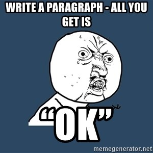 "Y U No - write a paragraph - all you get is ""Ok"""