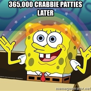 spongebob rainbow - 365,000 crabbie patties later