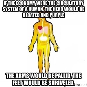 Scumbag Human Body - If the economy were the circulatory system of a human, the head would be bloated and purple the arms would be pallid, the feet would be shriveled.