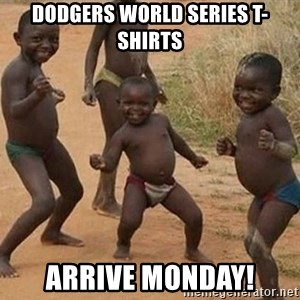 Dancing African Kid - Dodgers world series t-shirts arrive monday!