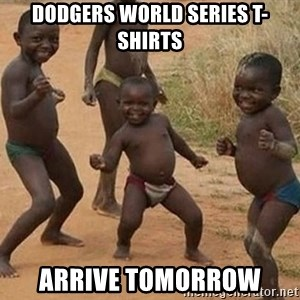 Dancing African Kid - Dodgers world series t-shirts arrive tomorrow
