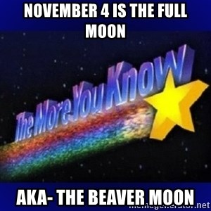 The more you know - NOvember 4 is the full moon AKa- the beaver moon