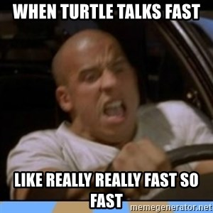 fast and furious - When turtle talks fast Like REally really fast so fast