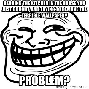 Problem Trollface - REdoing the kitchen in the house you just bought, and trying to remove the terrible wallpaper? Problem?