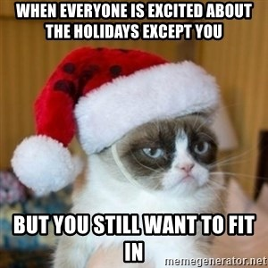 Grumpy Cat Santa Hat - when everyone is excited about the holidays except you  but you still want to fit in