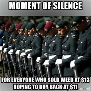 Moment Of Silence - Moment of silence  for everyone who sold weed at $13 hoping to buy back at $11