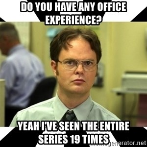 Dwight from the Office - Do you have any office experience? Yeah I've seen the entire series 19 times