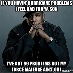 Jay Z problem - If you havin' Hurricane PRoblems I feel bad for ya son I've got 99 problems but my force Majeure Ain't one