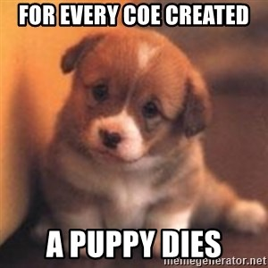cute puppy - For every coe created a puppy dies