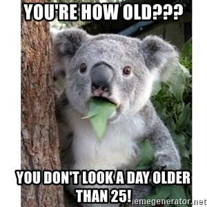 surprised koala - YOU'RE HOW OLD??? YOU DON'T LOOK A DAY OLDER THAN 25!