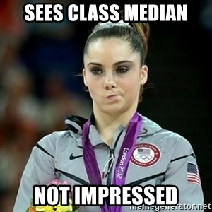 Not Impressed McKayla - Sees class median Not impressed