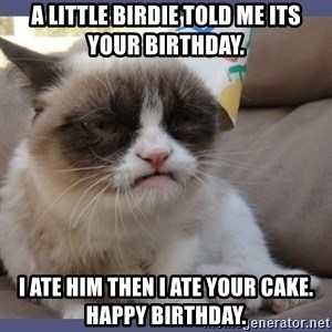 Birthday Grumpy Cat - A little birdie told me its your birthday. I ate him then I ate your cake. Happy birthday.
