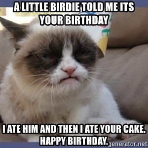Birthday Grumpy Cat - A little birdie told me its your birthday I ate him and then i ate your cake. happy birthday.