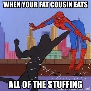 crotch punch spiderman - When your fat cousin eats all of the stuffing